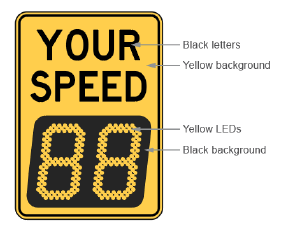 mutcd radar speed signs sign and display color requirements